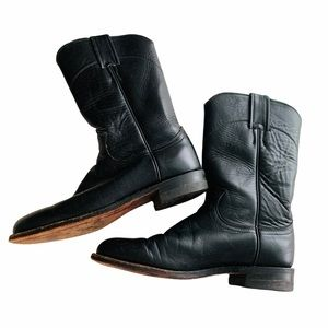 Justin Black Leather Boots